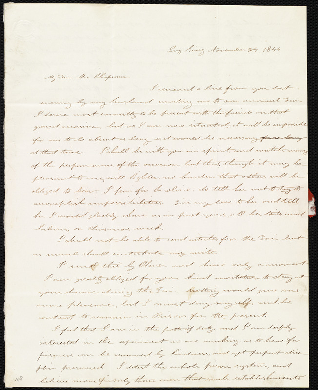 letter from mary ann white johnson sing sing new york to maria