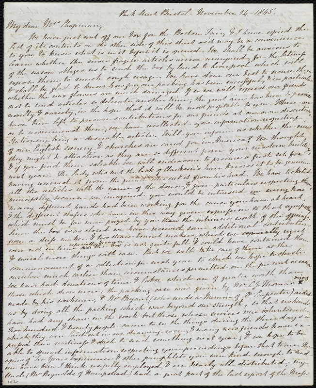 Letter from Mary Anne Estlin, Park Street, Bristol, [England], to Maria Weston Chapman, November 14, 1845