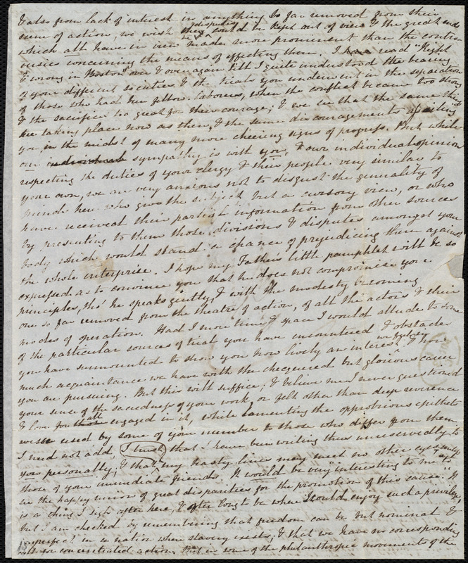 Fragment of a letter from Mary Anne Estlin, [Bristol, England], to Maria Weston Chapman, [not after 1846 March 3]