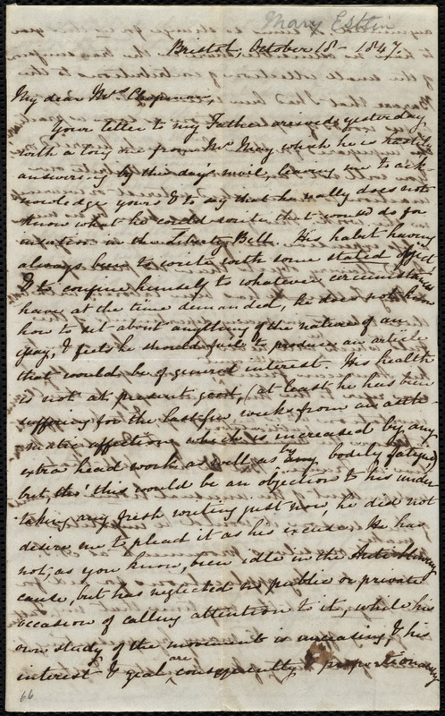 Letter from Mary Anne Estlin, Bristol, [England], to Maria Weston Chapman, October 18, 1847