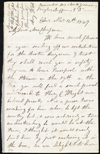 Letter from Mrs. Mary Welsh, Edin[burgh], [Scotland], to Maria Weston Chapman, Nov'r 16th, 1847