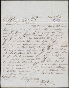 Letter from Thomas Earle, Salem, [Mass.], to Anne Warren Weston, 4th mo[nth] 30th [day] 1849