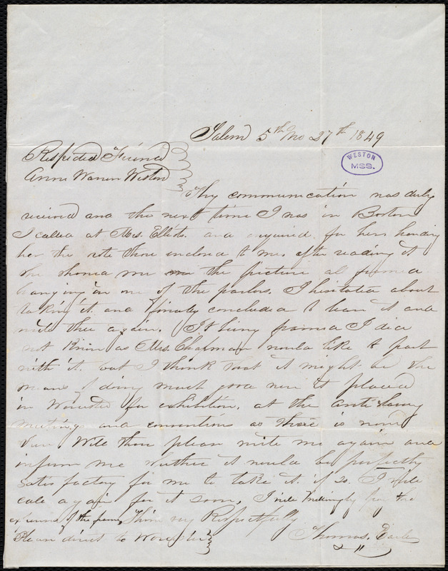 Letter from Thomas Earle, Salem, [Mass.], to Anne Warren Weston, 5th mo[nth] 27th [day] 1849