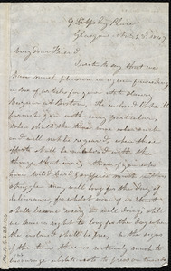 Letter from Mrs. Mary Welsh, 9 S[outh] Apsley Place, Glasgow, [Scotland], to Maria Weston Chapman, Nov. 23'd, 1849