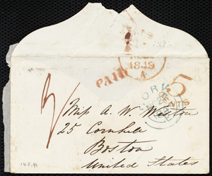 Envelope from Isabel Jennings, Cork, [Ireland], to Anne Warren Weston, [Nov. 29, 1849]
