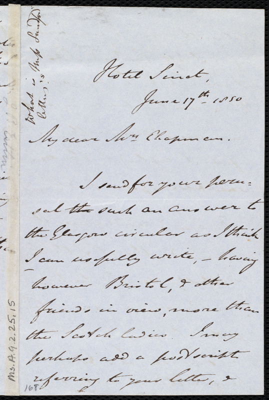 Letter from John Bishop Estlin, Hotel Sinet(?), to Maria Weston Chapman, June 17th, 1850