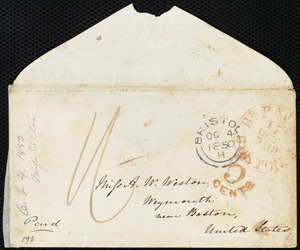 Letter from Mary Anne Estlin, [Bristol, England], to Anne Warren Weston, Oc[tober] 4, 1850