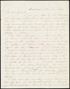 Letter from Abby Kelley Foster, Rochester, [NY], to Anne Warren Weston, Mar[ch] 12, 1851