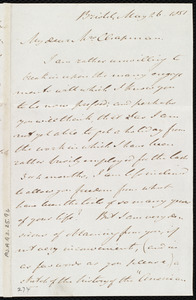 Letter from John Bishop Estlin, Bristol, [England], to Maria Weston Chapman, May 26, 1851