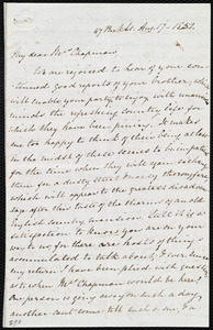 Letter from Mary Anne Estlin, 47 Park St., [Bristol, England], to Maria Weston Chapman, Aug. 17, 1851