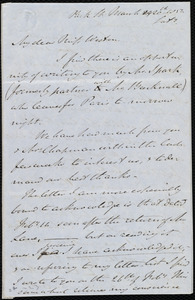 Incomplete letter from John Bishop Estlin, Park St., [Bristol, England], to Caroline Weston, March 20th, 1852, Sat[urda]y