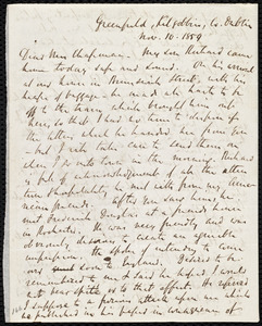 Letter from Richard Davis Webb, Greenfield, Kilgobbin, Co[unty] Dublin, to Maria Weston Chapman, Nov. 10, 1859