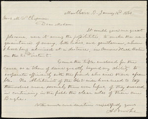 Letter from Abraham Brooke, Marlboro, O[hio], to Maria Weston Chapman, January 18th, 1860