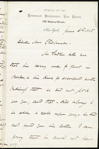 Letter from James Miller M'Kim, [New York], to Maria Weston Chapman, June 6th, 1865