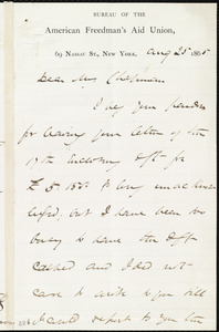 Letter from James Miller M'Kim, [New York], to Maria Weston Chapman, Aug. 25, 1865