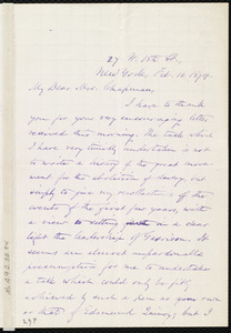 Letter from Oliver Johnson, 27 W. 18th St., New York, to Maria Weston Chapman, Feb. 16, 1874