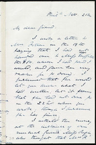 Letter from James Miller M'Kim, Phil[delphi]a, [Penn.], to Maria Weston Chapman, Nov. 25th, [185-?]