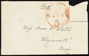 Letter from Sarah Russell May, Boston, [Mass.], to Anne Warren Weston, Monday p.m., Jan. 29, [18]49