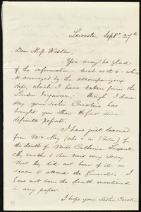 Letter from Samuel May, Leicester, [Mass.], to Miss Weston, Sept. 27th, [1852]