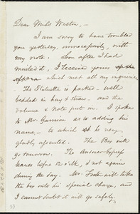 Letter from Samuel May, 21 Cornhill, Boston, [Mass.], to Miss Weston, Wed. p.m., Jan. 19th, [1853]