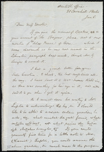 Letter from Samuel May, Anti-Sl[avery] Office, 21 Cornhill, Boston, [Mass.], to Miss Weston, Jan. 8, [1849-1855]