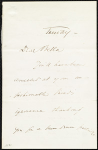 Letter from Wendell Phillips to Deborah Weston, Tuesday [1863?]