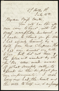 Letter from Abby Williams May, 27 Hollis St., [Boston?, Mass.], to Miss Weston, July 16, [not before 1863]