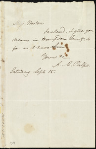Letter from Amos Augustus Phelps to Miss Weston, Saturday, Sept. 15, [1839?]