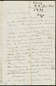 Letter from Edmund Quincy, Quincy, [Mass.], to Maria Weston Chapman, Sept. 29, [18]39
