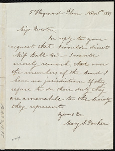 Letter from Mary S. Parker, 5 Hayward Place, [Boston, Mass.], to Anne Warren Weston, Nov. 1st, 1839