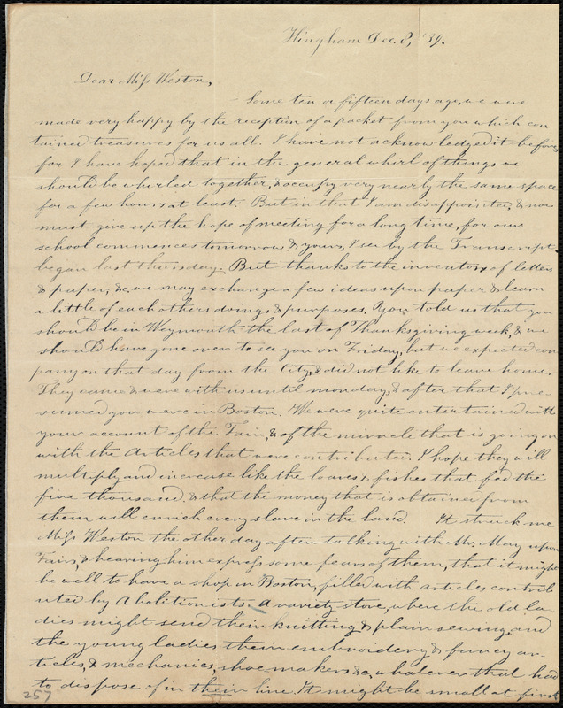 Letter from Evelina A. S. Smith, Hingham, [Mass.], to Caroline Weston, Dec. 8, [18]39