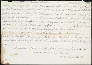 Fragment of a letter from Lucretia Mott to Maria Weston Chapman, [Not before 1840 July 28]