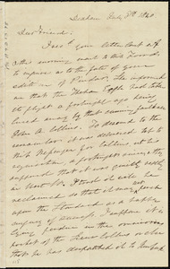 Letter from Edmund Quincy, Dedham, [Mass.], to Maria Weston Chapman, July 8th, 1840