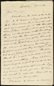 Letter from Edmund Quincy, Dedham, [Mass.], to Maria Weston Chapman, Thursday [1840?]