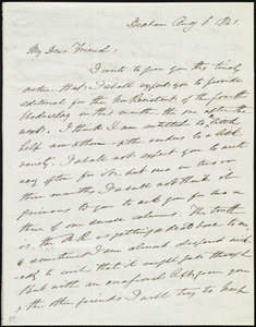 Letter from Edmund Quincy, Dedham, [Mass.], to Maria Weston Chapman, Aug. 6, 1841