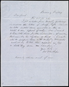 Letter from Wendell Phillips to Anne Warren Weston, Friday, [July 9, 1852?]