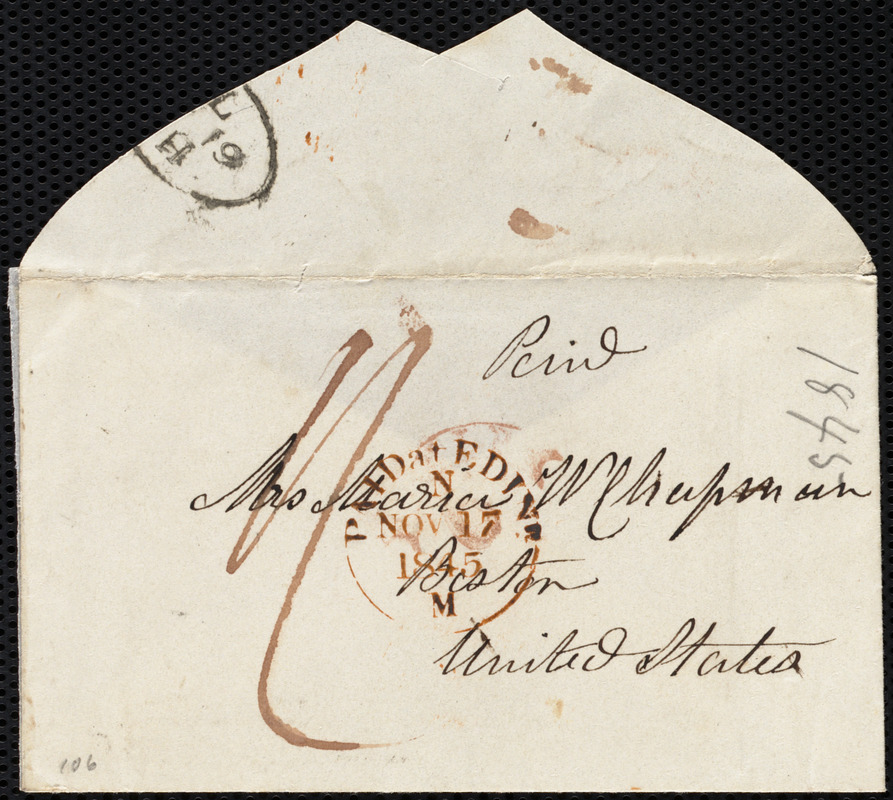 Letter from Mrs. Mary Welsh, 7 Montpelier, Edin[burgh], [Scotland], to Maria Weston Chapman, Nov'r 17th, 1845