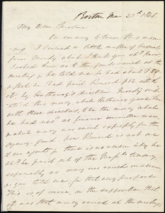 Letter from Edmund Quincy, Boston, [Mass.], to Caroline Weston, Mar[ch] 23rd, 1846