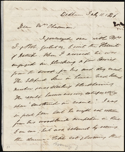 Letter from Edmund Quincy, Dedham, [Mass.], to Maria Weston Chapman, July 11, 1846