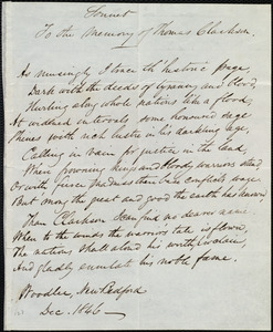 Sonnet to the memory of Thomas Clarkson from Daniel Ricketson, Woodlee, New Bedford, [Mass.], to Maria Weston Chapman, Dec. 1846