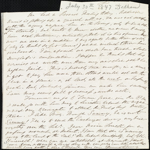 Fragment of a letter from Edmund Quincy, [Dedham, Mass.?], to Caroline Weston, [July 30, 1847]