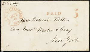 Letter from Joseph Ricketson, New Bedford, [Mass.], to Deborah Weston, 10th month 8th [day] 1847