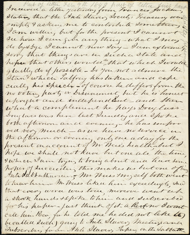 Partial letter from Joseph Ricketson, [New Bedford, Mass.?], to Caroline Weston, [Feb. 9, 1848]