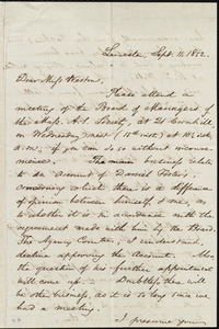 Letter from Samuel May, Leicester, [Mass.], to Miss Weston, Sept. 11, 1852