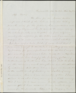 Letter from Clarissa G. Olds, Unionville Lake Co., Ohio, to Miss Weston, Nov. 29, / [18]52