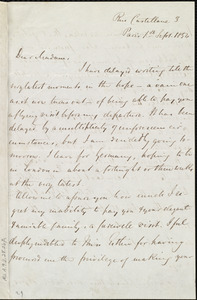 Letter from Louis Alexis Chamerovzow, Rue Castellane 3, Paris, [France], to Maria Weston Chapman, 1st Sept. 1854