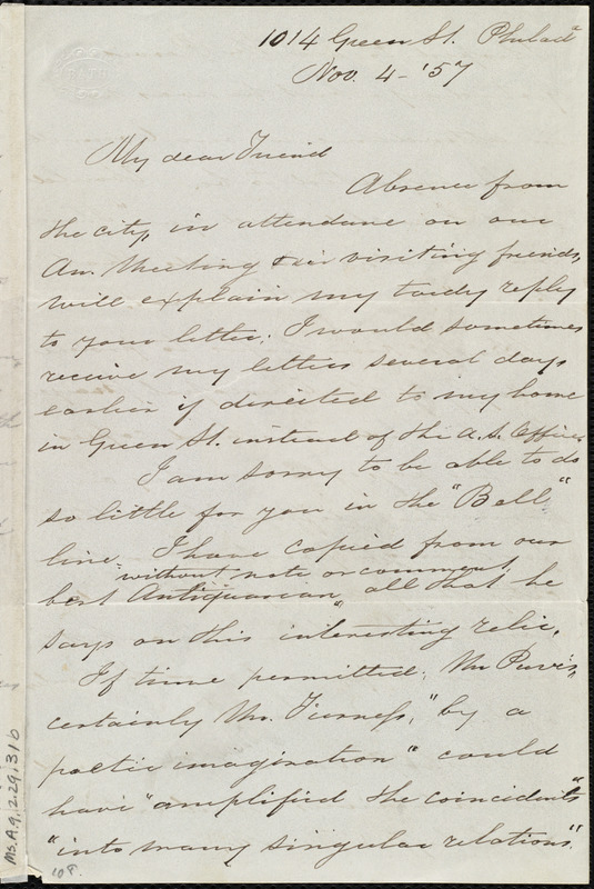 Letter from Sarah Pugh, 1014 Green St., Philad[elphia], [Penn.], to Maria Weston Chapman, Nov. 4, [18]57