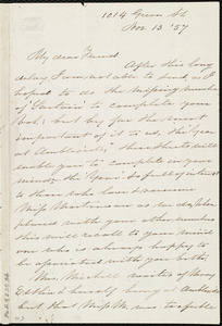 Letter from Sarah Pugh, 1014 Green St., [Philadelphia, Penn.], to Maria Weston Chapman, Nov. 13, [18]57
