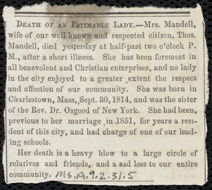 Letter from Joseph Ricketson, New Bedford, [Mass.], to Deborah Weston, 1st month 24th [day] 1862