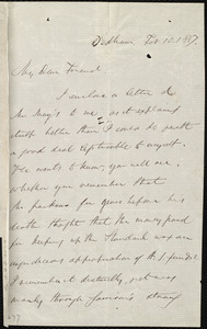 Letter from Edmund Quincy, Dedham, [Mass.], to Maria Weston Chapman, Feb. 10, 1867